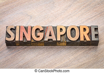 Singapore word abstract in wood type