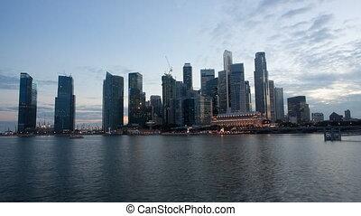 singapour, horizon, scène nuit, vidéo