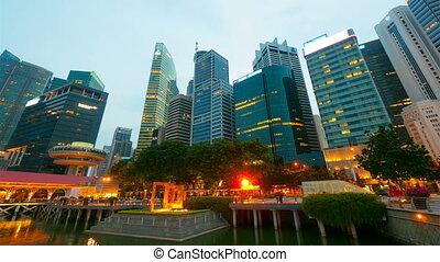 singapour, mouvement, timelapse, (4096x2304), 4k, nuit
