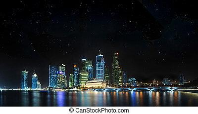 singapour, panoramique, à, étoiles