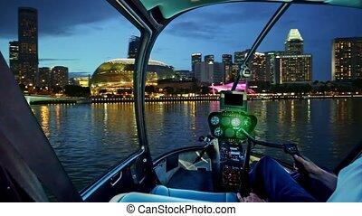 singapour, port, hélicoptère