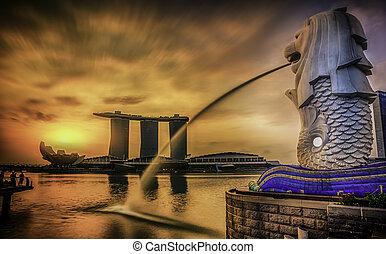 singapour, repère, merlion