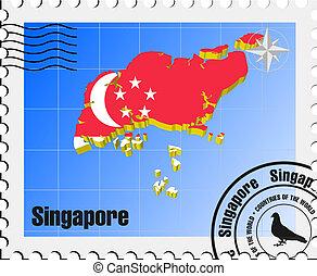 singapour, timbre, vecteur