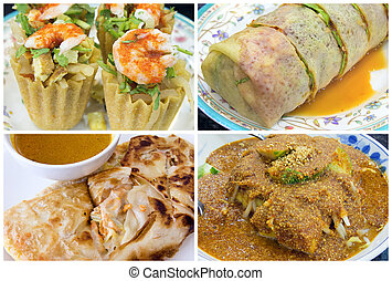 singapur, alimento, al sureste asiático, collage, local