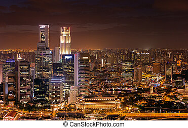 singapur, ansicht, geschäftsbezirk, nacht
