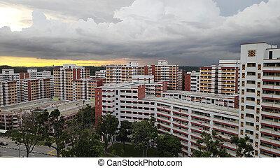 singapur, atrás, ocaso, apartamentos, fila