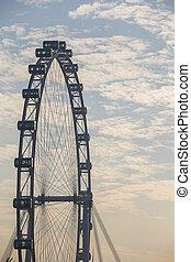 singapur, aviador, con, mañana, nube de cielo