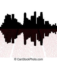 singapur, contorno, con, perspectiva, texto, contorno, primer plano