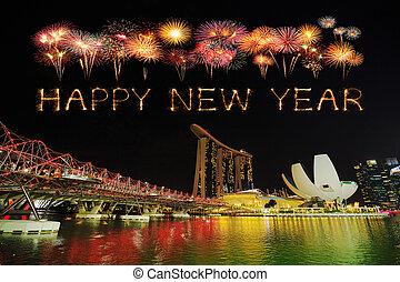singapur, destello, fuego artificial, hélice, año, nuevo, puente, feliz