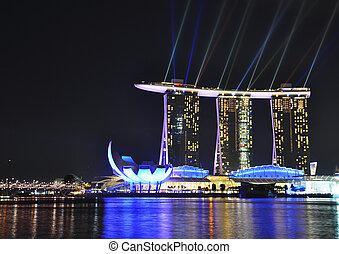 singapur, -, februar, 26:, marina, bucht, sande, hotel, auf,...