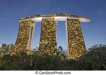 singapur, -, mai, 12:, nacht, ansicht, an, marina, bucht,...