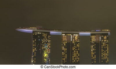 singapur, marina, bucht, nacht