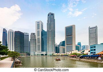 singapur, muelle, con, rascacielos, y, restaurantes