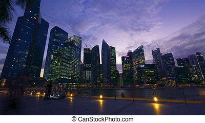 singapur, nacht, timelapse, bewegung