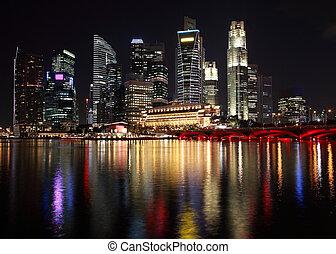 singapur, noche, vista