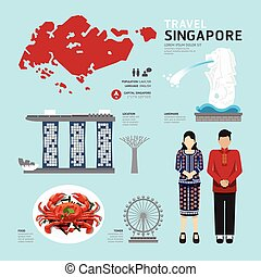 singapur, plano, iconos, diseño, viaje, concept.vector