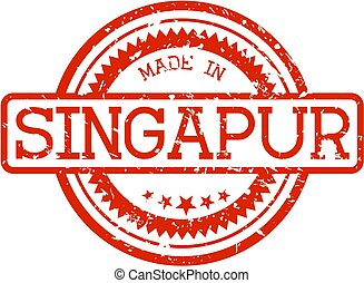 singapur..., postzegel, gemaakt, rubber