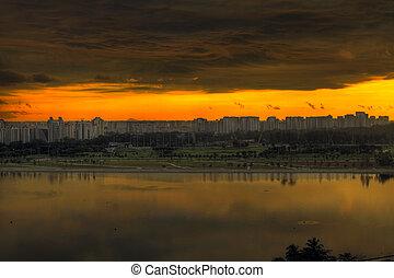 singapur, salida del sol, vista