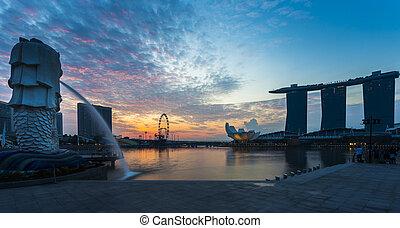 singapur, señal, merlion, con, salida del sol