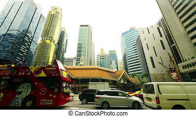 singapur, straße., timelapse, bewegung