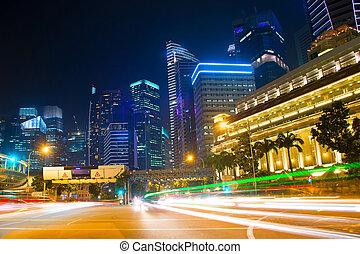singapur, tráfico, camino, noche