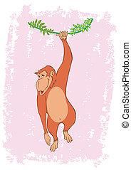 singe, arbre, vigne, illustration, vecteur, pendre