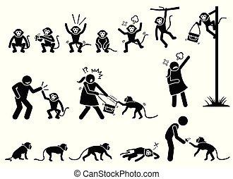 singe, figure, pictogramme, crosse, humain, cliparts.