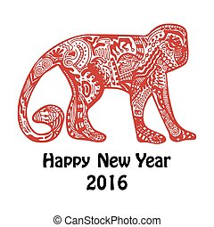 singe, hand-drawn, carte, année, nouveau, rouges
