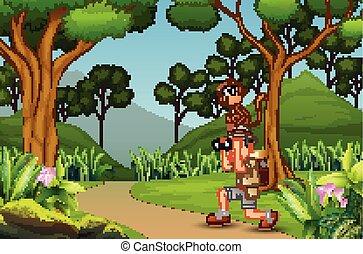 singe, heureux, explorateur, homme, jungle