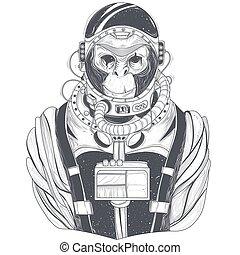 singe, illustration espace, main, astronaute, vecteur, chimpanzé, complet, dessiné