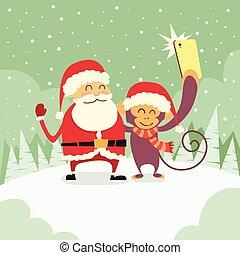singe, intelligent, caractère, santa, téléphone, noël, selfie, clause, prendre, dessin animé, photo