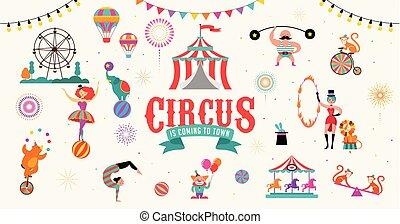 singe, lion, clown., balle, cirque, illustration, air, vecteur, fond, éléphant, tente, ballons, jugger, bannière, gymnastique
