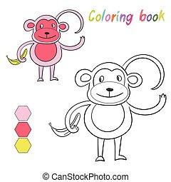 singe, livre, jeu, coloration, disposition, gosses