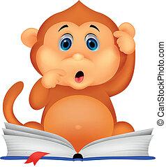 singe, livre, mignon, lecture, dessin animé