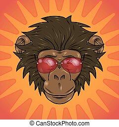 singe, lunettes, rigolote, dessin animé