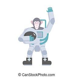 singe, main., complet, illustration, onduler, vecteur, astronaute, animal, garde, helmet.