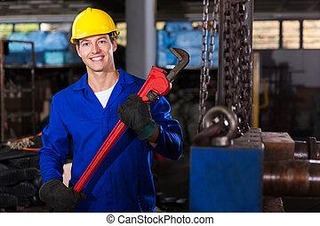 singe, ouvrier, clé, usine