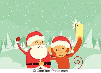 singe, photo, prendre, claus, caractère, noël, téléphone, santa, dessin animé, selfie, intelligent