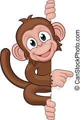 singe, pointage, caractère, signe, animal, dessin animé