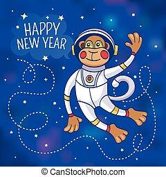 singe, salutation, astronaute, année, nouveau, carte