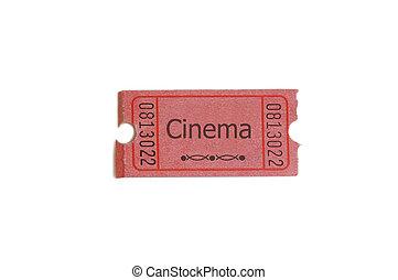 """singel, biljett, vita, med, \""""cinema\"""", text"""