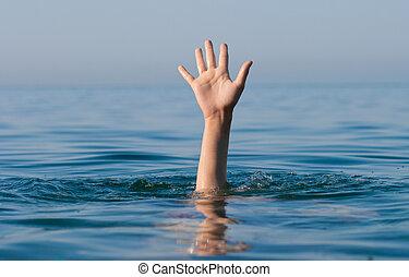 singel, hånd, i, drukne, mand, ind, hav, spørge, by, hjælp