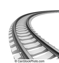 singel, krummet, jernbane track, isoleret