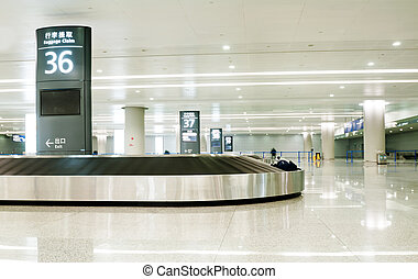 singel, resväska, allena, på, flygplats, karusell
