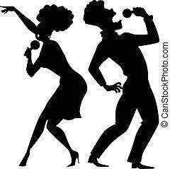 singende, duett, silhouette