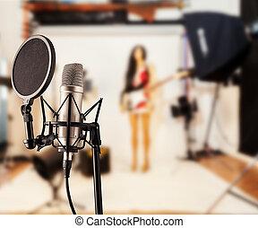 singende, mikrophon, in, studio