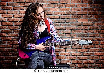 singende, mit, elektrische gitarre
