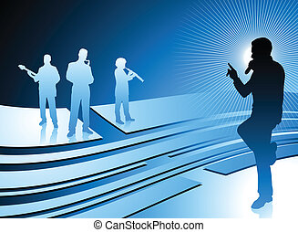 singer and band on abstract internet blue background