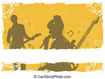 Singer and guitarist - Illustration of a singer and a...