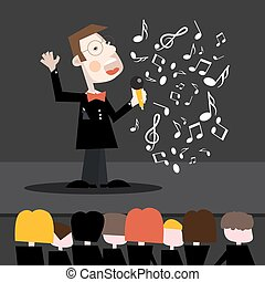 Singer Cartoon. Man Singing Song with Notes and Audience. Vector Concert Illustration.